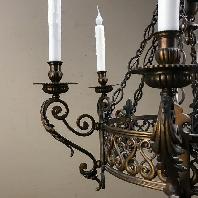 Bronze Antique French Louis XIV Bronze Chandelier For Sale - Image 7 of 12