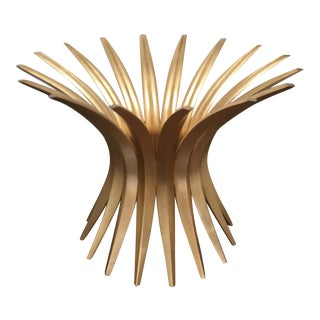 Round Gold Leaf Table Base by Christopher Guy For Sale