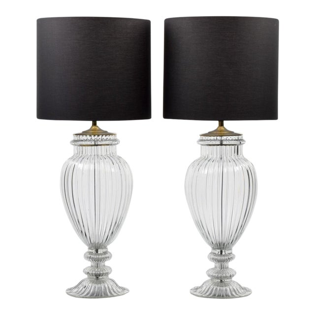 Vintage Mid Century Barovier & Toso Style Monumental Murano Lamps- A Pair For Sale