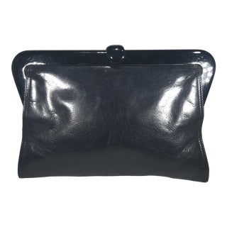 1980s Bottega Veneta Black Leather Clutch With Plastic Frame For Sale