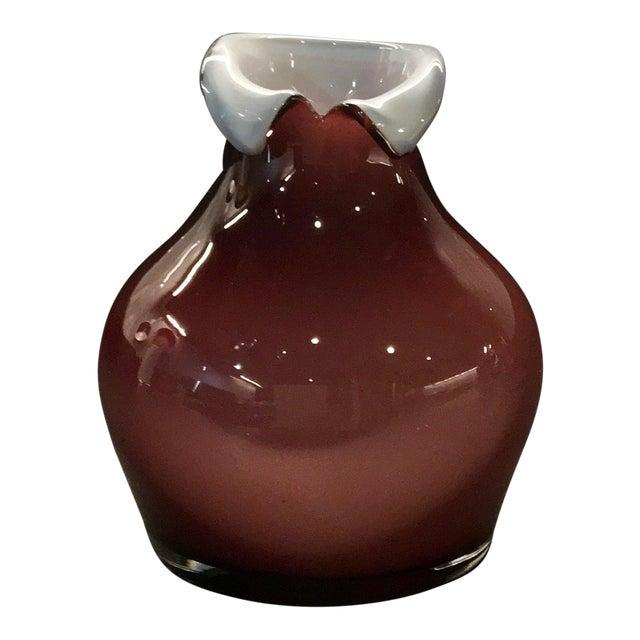Vintage Tarnowiec of Poland Hand-Blown Mauve & White Glass Vase For Sale