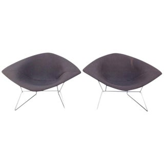 Pair of Early Bertoia Wide Diamond Chairs For Sale