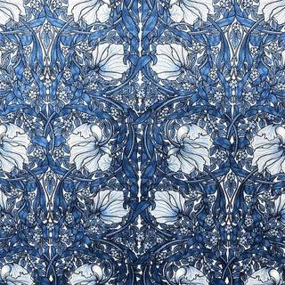 Velvet Pimpernel William Morris Blue Upholstery Fabric For Sale
