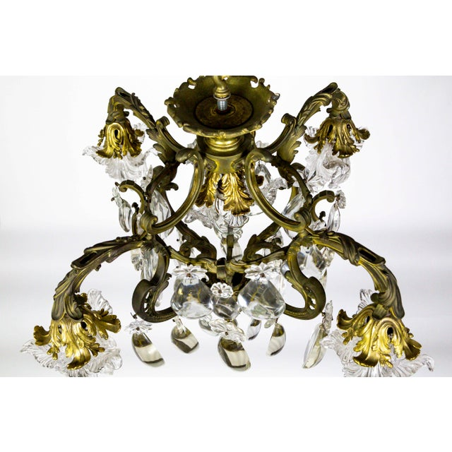 Art Nouveau Bronze Belle Epoch Glass Flower and Smooth Almond Crystal Chandelier For Sale - Image 3 of 11