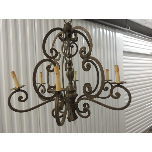 """Large Traditional Forged Iron Hanging Chandelier from Currey & Company. 64"""" H to canopy x 32""""D x 30.5""""H to top of hook...."""