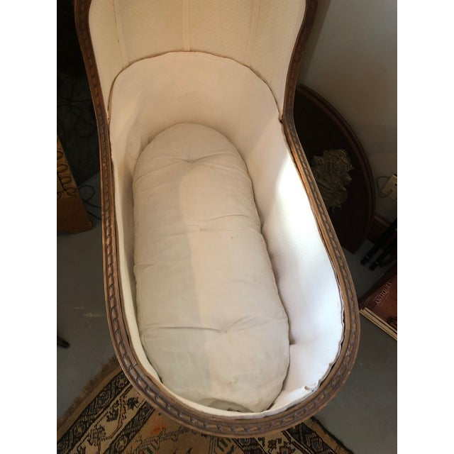 19th Century Antique Louis XVI Style Carved Walnut Bassinet For Sale - Image 9 of 12