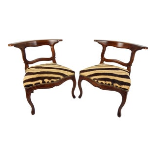 Antique French Zebra Hide Safari Chairs, Pair For Sale