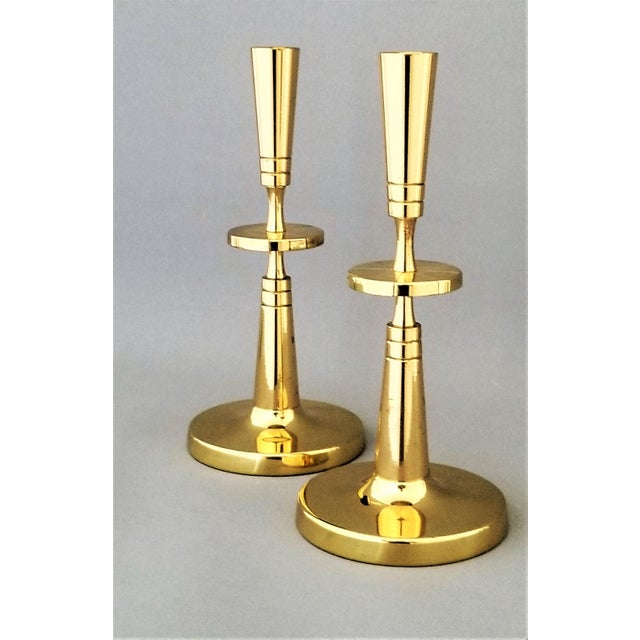 Tommi Parzinger Tommi Parzinger for Dorlyn Brass Candlesticks- Mid Century Modern - a Pair For Sale - Image 4 of 12