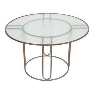 Round Patio Table With Oxidized Bronze Frame by Walter Lamb for Brown Jordan For Sale