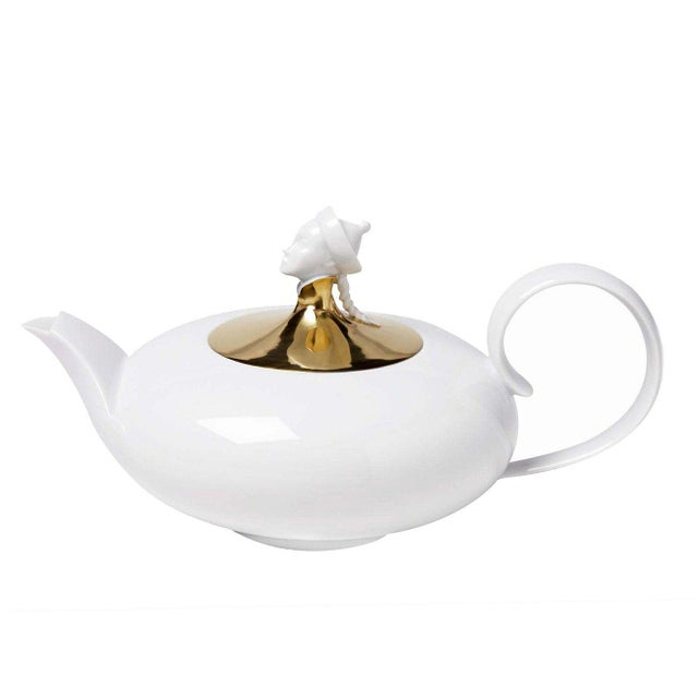 "New, original 1920s design ""Chinese"" 1.2l teapot made from pure white porcelain with platinum lid part of the ""Orient""..."