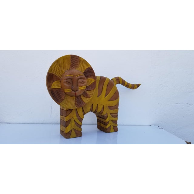 Whimsical Mid-century Guido Gambone Style hand carved wood and painted Sun Lion decorative Expressionist sculpture ....