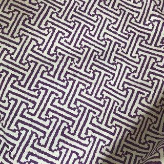"Quadrille China Seas Purple ""Java"" Linen Fabric - 1.25 Yards For Sale"