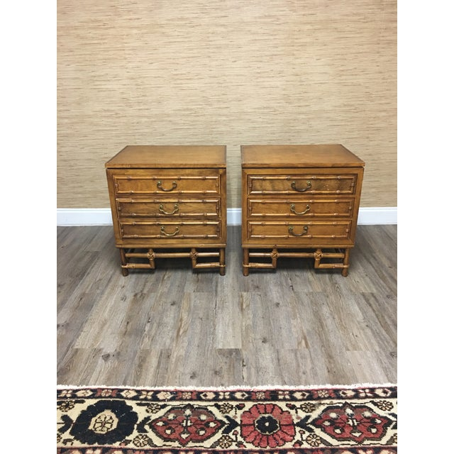 Chippendale Ficks Reed Faux Bamboo Nightstands-A Pair - Solid Hardwood Construction For Sale - Image 3 of 9