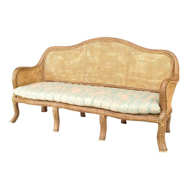 English 'Anglo-Indian Style' Natural Wicker Settee For Sale
