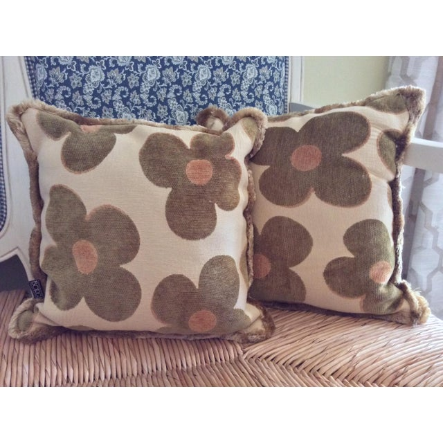 Two wonderfully fun vintage Borgata Pillows. Done in a calm green and cream, with a pop of yellow. Surrounded by a fluffy...