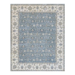 """Persian Handwoven Blue Wool Sultanabad Rug - 7'10"""" X 9'11"""" For Sale"""