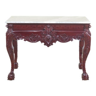 Marble Top Heavily Carved Mahogany Claw Foot Console Table For Sale