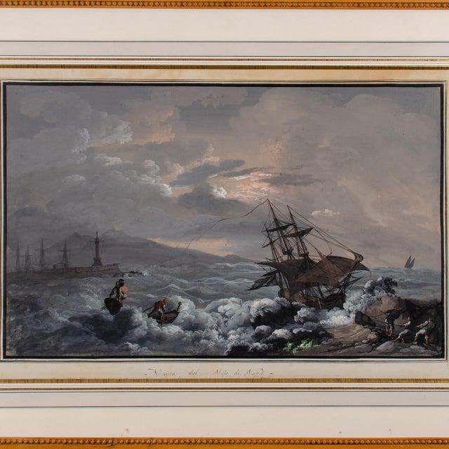 Camillo de Vito (Italian, active 1794-1845) Veduta del Molo di Napoli (view from the Naples pier), circa 1820s. A gouache...