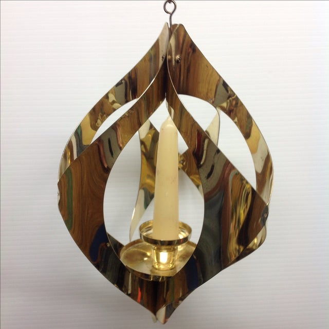 Hollywood Regency Brass Candle Pendant Light - Image 5 of 6