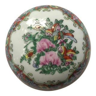 Vintage Chinese Rose Medallion Porcelain Pill or Trinket Box For Sale