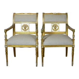1950s Vintage Italian Arm Chairs- A Pair For Sale