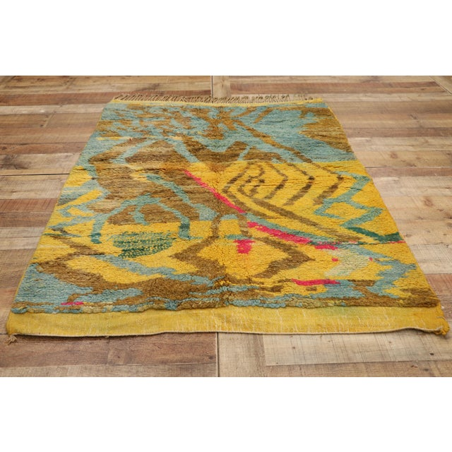 Textile New Contemporary Berber Moroccan Rug - 03'06 X 04'10 For Sale - Image 7 of 10
