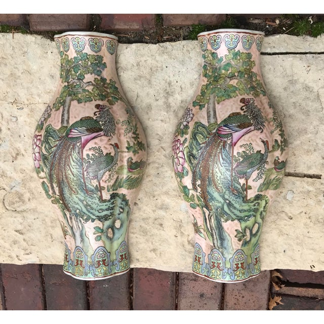 Large Chinoiserie Wall Vases - a Pair For Sale - Image 4 of 9
