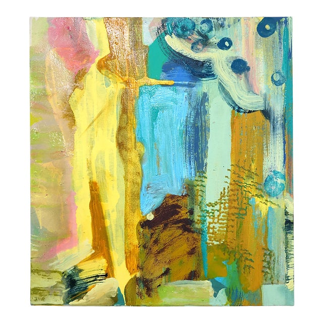 """Molly Herman """"Tremolo"""" Yellow Abstract Painting For Sale"""