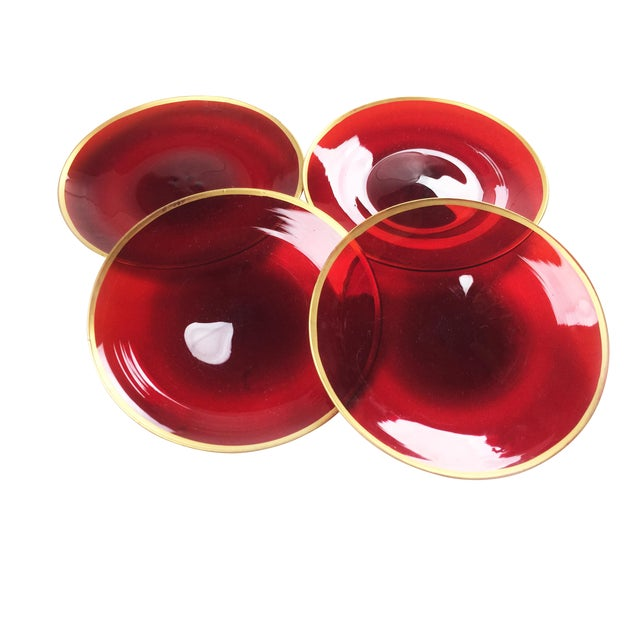 Vintage 1930's Ruby Red Glass Plates - Set of 4 For Sale
