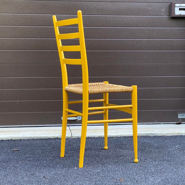 Wood Woven Rope Gio Ponti Style Side Chair For Sale - Image 7 of 12