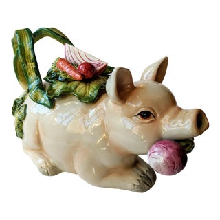 Fitz & Floyd French Market Pig Teapot For Sale