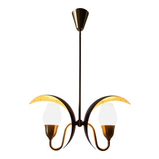 Fog & Mørup, Danish Black and White Painted, Brass and Glass 2-Arm Chandelier For Sale