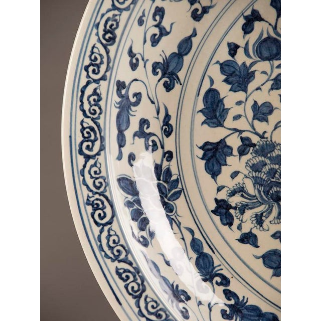 Ceramic Grand Scale Vintage Chinese Blue and White Glazed Bowl For Sale - Image 7 of 10