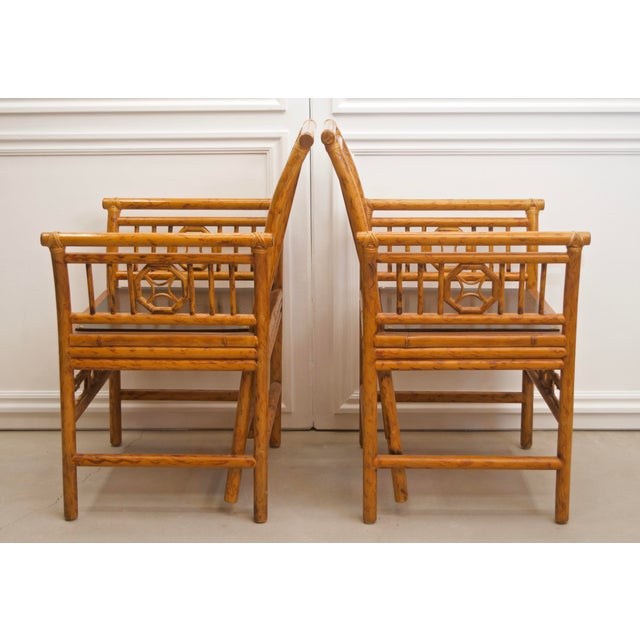 Chinoiserie 1980s Maitland Smith Bamboo Chinoiserie Asian Chairs - a Pair For Sale - Image 3 of 11