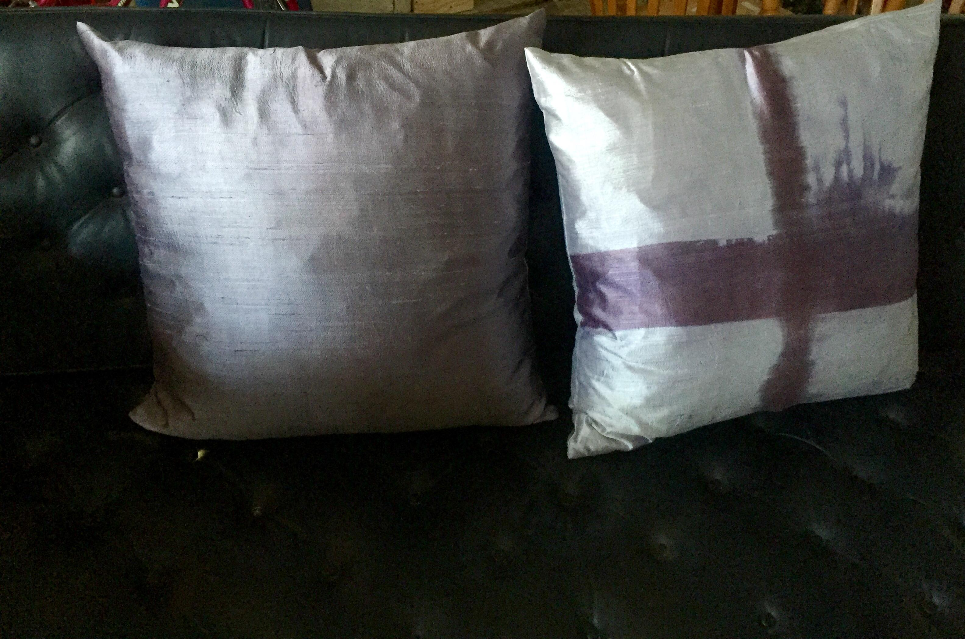 Contemporary Hand Loomed Amp Dyed Silk Decorative Pillows