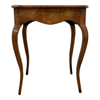 Antique Walnut Side Table With Marquetry Top For Sale