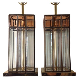 Fredrick Ramond Brass & Lucite Lamps - A Pair