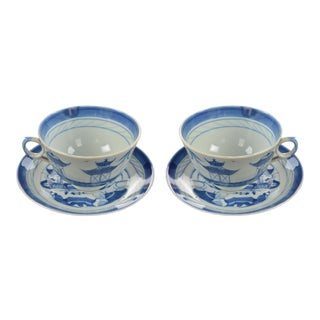 Canton Ware Teacups and Saucers - a Pair For Sale