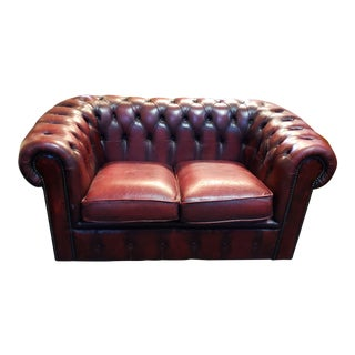 Vintage Chesterfield Leather Two Seat Sofa Circa 1980 For Sale