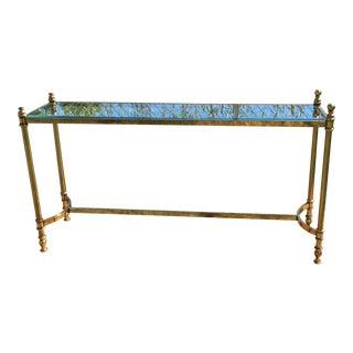 Maison Baguès Brass & Glass Console Table For Sale