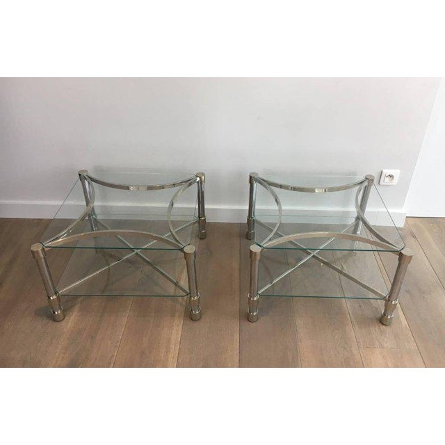 French Pair of Double-tiered Chrome Side Tables For Sale - Image 3 of 11