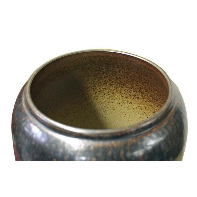 Arts & Crafts Ceramic Metallic Black Glaze Tall Slim Vase Jar cs2615 For Sale - Image 3 of 6