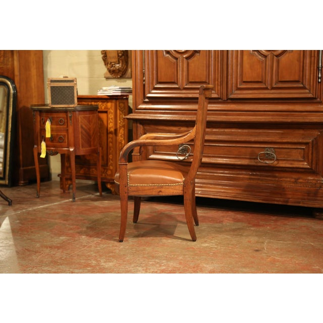 19th Century French Directoire Carved Walnut Desk Armchair With Brown Leather For Sale In Dallas - Image 6 of 9