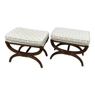 1970s Vintage Regency Style X Footstools - a Pair For Sale