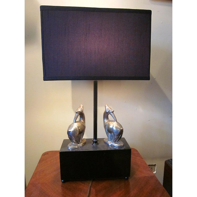 Metal 1920s Vintage 1920s Art Deco Black and Chrome Figural Table Lamp Gazelles Antelope Chrome Animal Figures With Geometric Black Base and Shade For Sale - Image 7 of 9