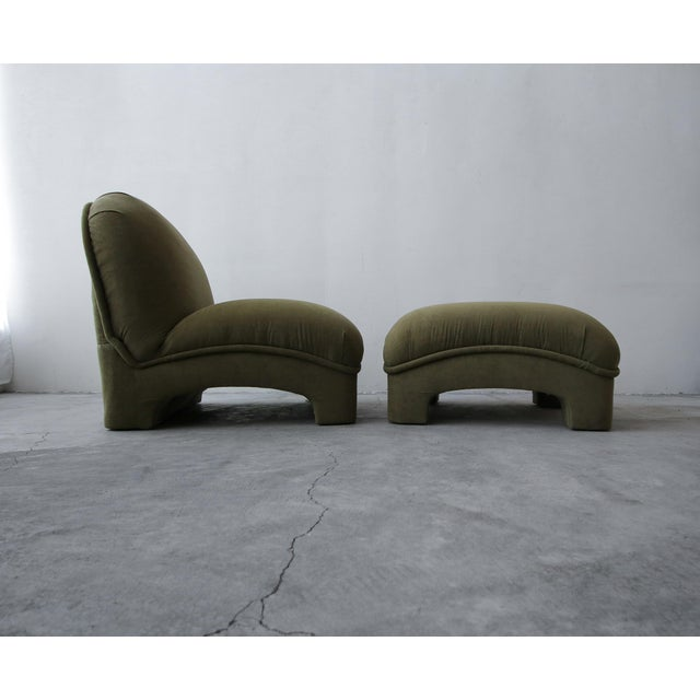 Minimalism Post Modern Slipper Lounge Chair and Ottoman For Sale - Image 3 of 8