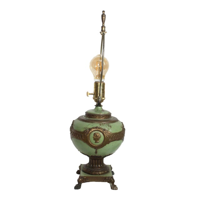Empire 1930s French Green & Gold Accent Lamp For Sale - Image 3 of 7