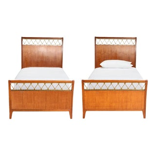 1920s Paolo Buffa Rosewood & Brass Twin Size Bedframes - A Pair For Sale