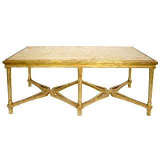 Carved Italian Gilt-wood Coffee Table With Marble Top by Randy Esada Designs For Sale