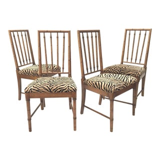 Bamboo Tiger Print Dining Chairs For Sale